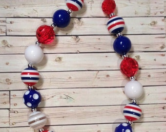 Red, White and Blue Bubblegume Chunky Bead Necklace, 4th of July Patriotic Chunky Necklace