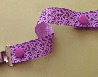 Purple Leopard Pacifier Clip