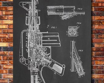 M16 Assault Rifle Patent Print Art 1966
