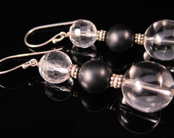 Rock crystal quartz and onyx drop earrings in sterling silver