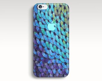Blue iPhone 6 Case, iPhone 6s Case, Watercolor iPhone 5C Case, iPhone 6 Plus Case, Fish Scale iPhone 5s Case, iPhone Case Christmas Gift