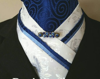 Doc's Designs Blue Swirl and Roses Brocade Dressage Stock Tie