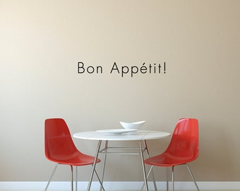 "Bon Appetit ! Wall Decal / Dining Room / Wall Quote Sticker (36"" x 6.25"") Gift Ideas"
