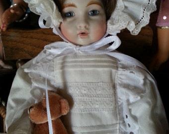 Antique Reproduction Nursing Bru Bisque Head Soft Body Doll