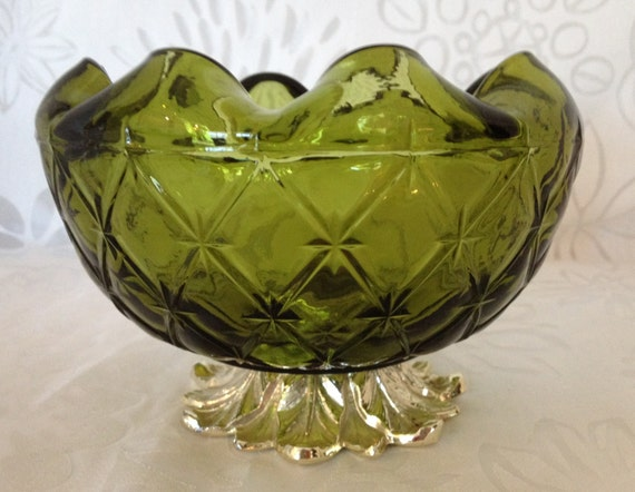 "Indiana Glass ""Duette"" Pattern Footed Glass Bowl with Etched Leaf Design Base 1950-1970"