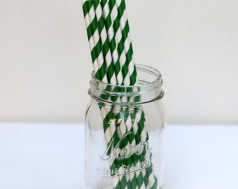 Striped Paper Straws Forest Green Pack of 25