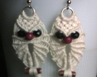 Macramé Owl Earrings