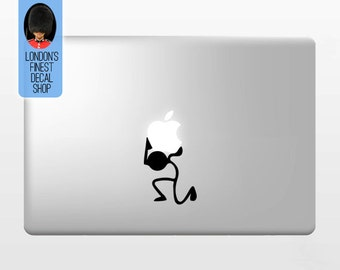 Stickman Holding Apple - Macbook Vinyl Decal Sticker / Laptop Decal / iPad Sticker