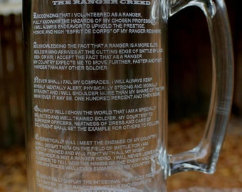 Personalized US Army Ranger Creed Beer Mug, engraved Custom Military Gift, 27oz