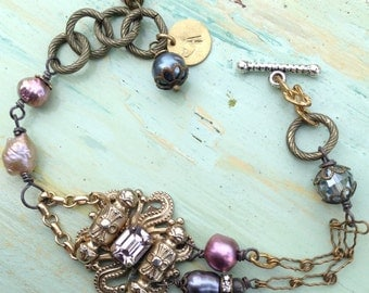 Vintage assemblage bracelet, purples, plums, Victorian