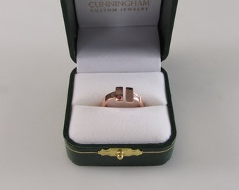 14kt Rose Gold T Bar Ring with Genuine Ruby - Size 6 1/2