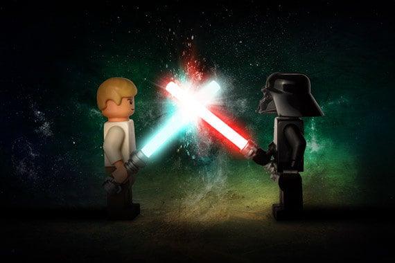 Lego Star Wars Luke Skywalker Vs Darth Vader Wall Art Custom