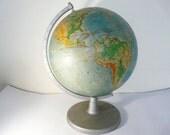 "Vintage Globe big diameter 13.4"" (34.0 cm) Vintage World Globe home decor bar decor office decor"