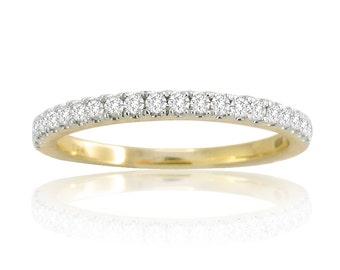 0.25ct Pave Set Diamond 14k Yellow Gold Half Eternity Wedding Band Ring