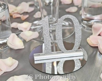 Glitter, Mirror Wedding Table Numbers