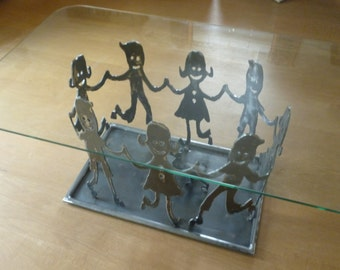 "Handmade coffee table design ""HappyKids"" metal"