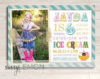 Ice Cream Girl Birthday Invitation - Digital, Printable, Trendy, Stripes