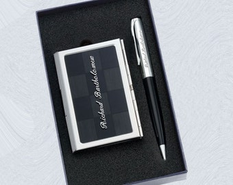 Personalized Gift Set custom engraved IOTGC Pen and Business Card Case set for groomsmen, father, graduation, executive gifts