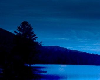 Adirondack Mountains Night Photograph, Full Moon Photo, Night Time Photo, Blue Sky, Moon Photography, Adirondack Decor, Home Decor, Wall Art