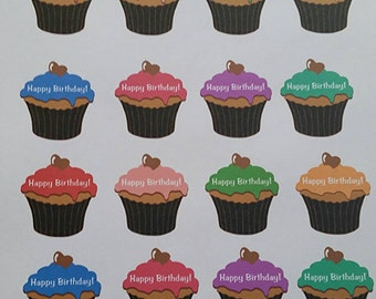 Cupcake Happy Birthday Stickers