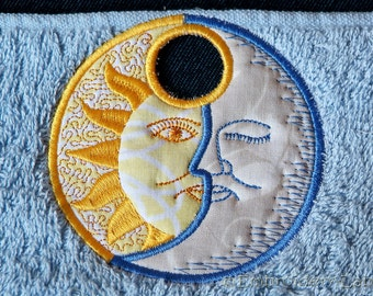 Towel topper Celestial,  Moon and Sun - machine embroidery design