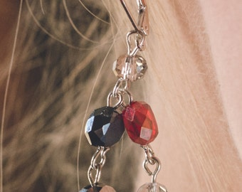 E7 2 tiered red, white, and pewter crystal earrings