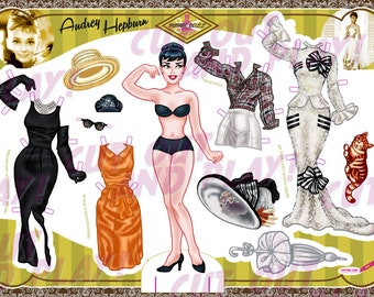 Audrey Hepburn paper doll, printable, dress up doll, Breakfast at Tiffany party, fashion dolls, Hollywood party, audrey hepburn dress