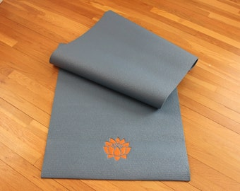 Lotus Flower Custom Embroidered Yoga / Pilates Mat - Shown in Slate Blue / Orange and Forest Green / Pink