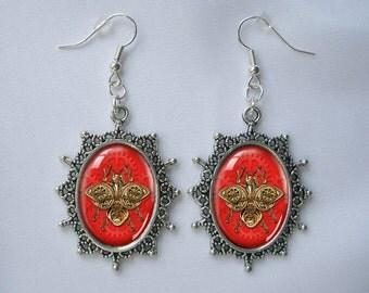 Silver Earrings Red Bumblebee