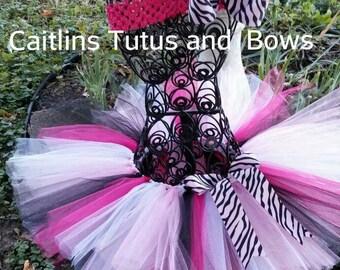 Pink zebra tutu- zebra tutu- zebra bow- pink and black tutu- pink tutu- zebra birthday tutu- birthday tutu
