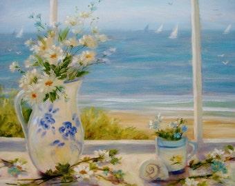 Beach greeting card, daisies, still life, coastal, beach art, nautical, shabby chic, from original painting by Tina O'Brien