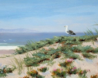 Beach greeting card, coastal, nautical, shabby shic, bird, seagull,  from original painting by Tina O'Brien