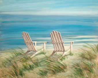 Beach Print,  nautical, coastal, shabby shic, beach art, adirondack chairs, from a original oil painting by Tina O'Brien