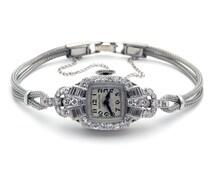 Vintage Deco Platinum 1ct Diamond Hamilton 995A Manual Watch 17Jewels