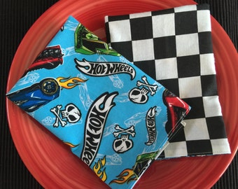 Back To School Kid's Reversible Cloth Napkins, Hot Wheels & Checkerboard Flag Cotton Print, Large Lunchbox Size.