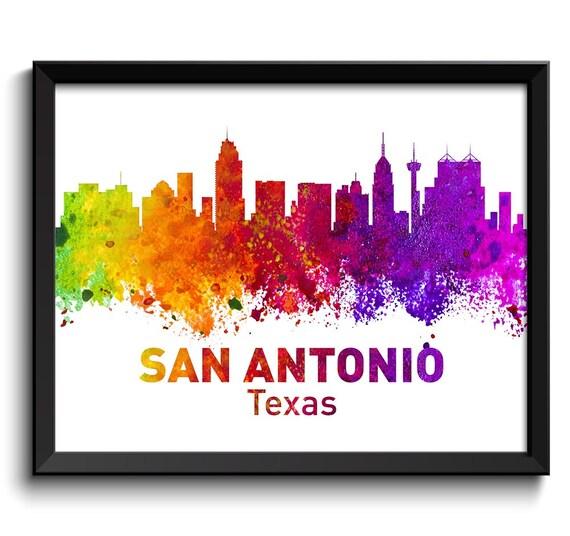 san antonio texas city skyline colorful watercolor cityscape poster