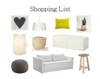 Interior Design Service/custom design/E-Design/Concept board/Shopping List/Moodboard/MIDI Package