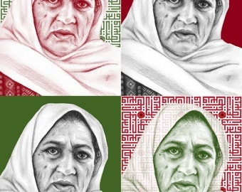 High Quality Print - Palestinian Elder Woman Refugee Portrait