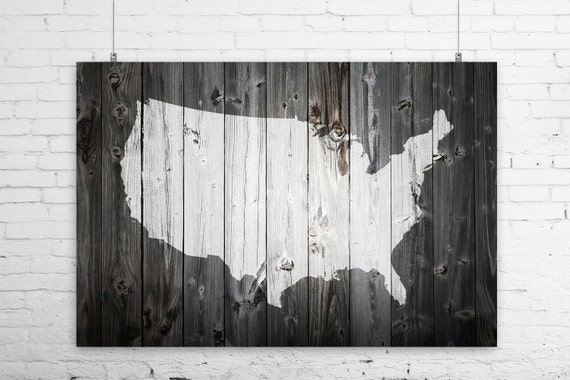 Rustic Painted Barn Wood US Map Art Print Wall Poster USA