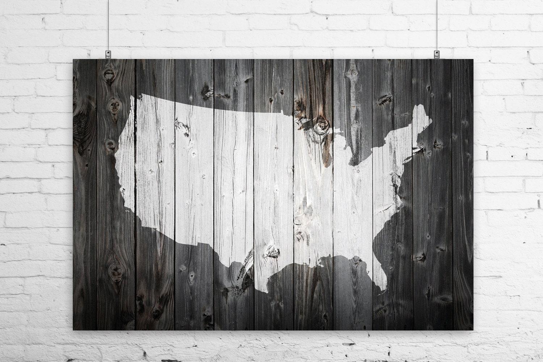 Rustic Painted Barn Wood US Map Art Print Wall Poster USA - Us map canvas wall art