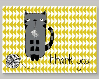 Cat On A Mat Thank You Card