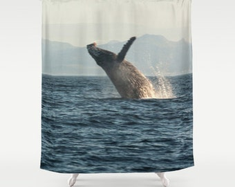 Whale Shower Curtain, Nautical Shower Curtain, Ocean Shower Curtain, Cloth Shower Curtain, Photo Shower Curtain, Whale Bathroom Decor