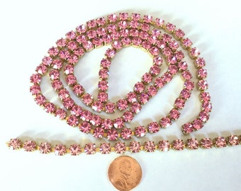 """Large SS29 """"Rose Pink"""" Crystal Rhinestone Banding Chain - High Quality Czech Stones - Radiant!"""
