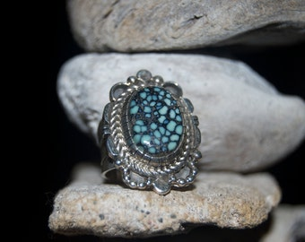 Navajo Spider Web Turquoise Sterling Silver Ring - Size 6