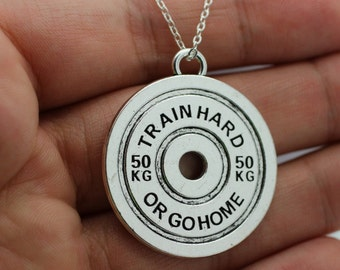 Train Hard or Go Home Charm Necklace Fitness Weightlifting Gym crossfit DUMBBELL