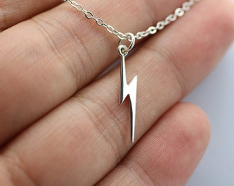 LIGHTNING BOLT NECKLACE - 925 Sterling Silver - Lightning Bolt Strike Charm New