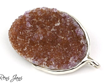 Drusy amethyst pendant, drusy silver necklace, drusy amethyst necklace pendant, pendant purple, amethyst necklace pendant, silver jewelry