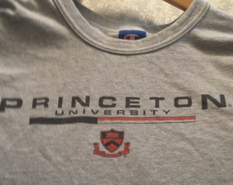 Vintage Princeton University t-shirt with crest, heather grey, Men's XL by Champion.