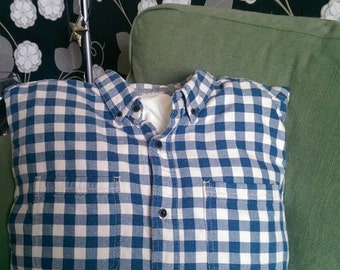Cushion - Unique Handmade Shirt Cushion in Blue Check Pattern