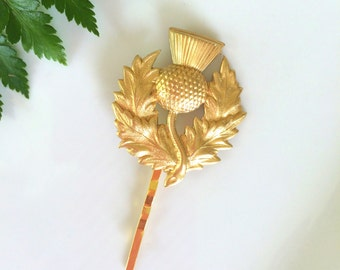 Gold Thistle Hair Pin, Gold Bobby Pin, Gold Barrette, Thistle Bobby Pin, Gold Hair Pin, Wedding Hair, Scottish Hair Pin
